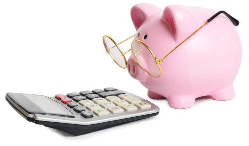 Sparschwein blickt kritisch auf einen Taschenrechner.